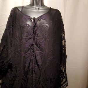 Dresses - BEAUTIFUL black floral lace kaftan dress!
